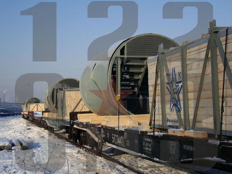 Отправка вертикального резервуара железной дорогой